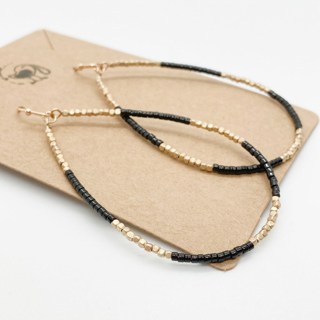 Beaded Tear Drop Earrings-Black & Gold