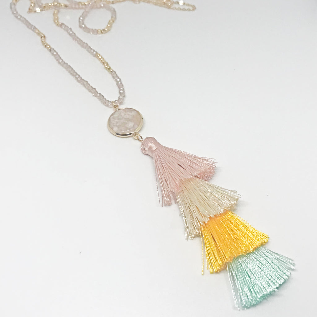 Sweet Beaded Tassel Necklace-Multi Color