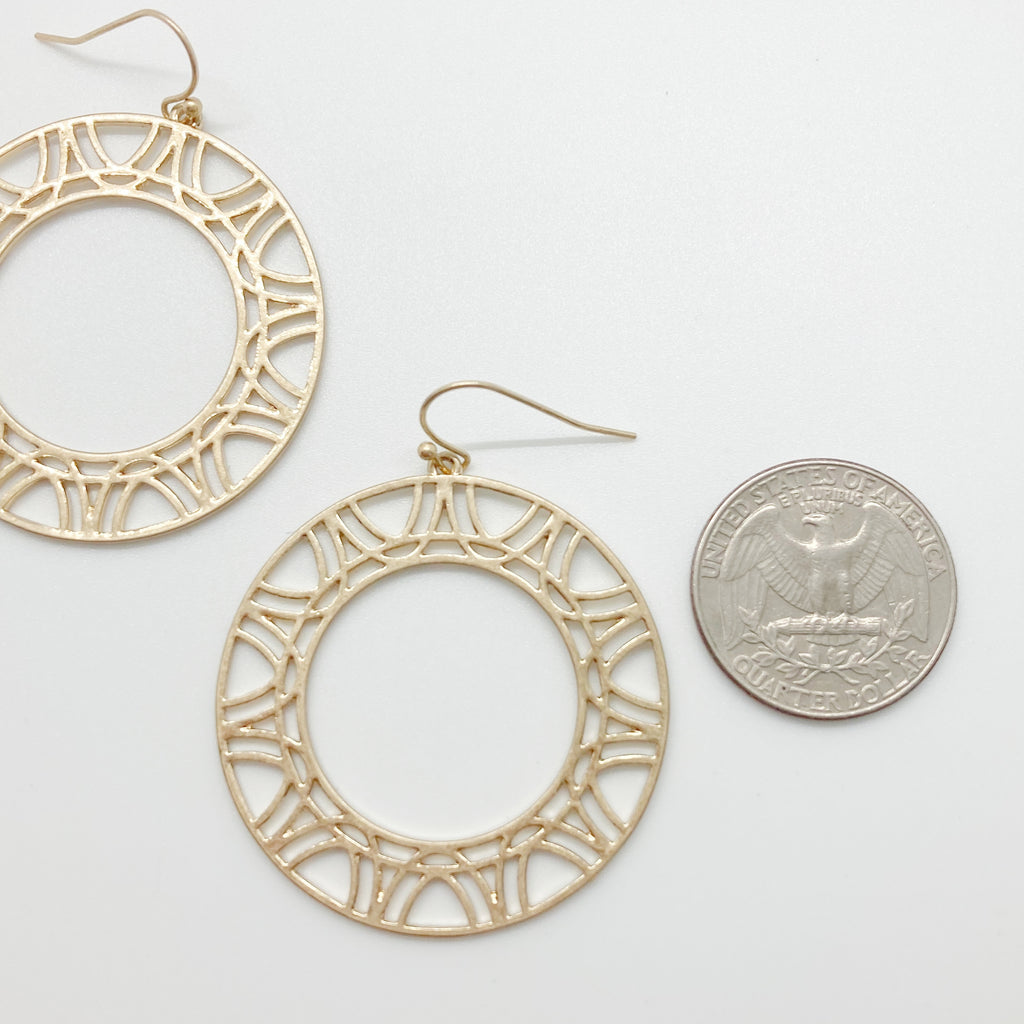 Funky Circle Drop Earrings-Gold