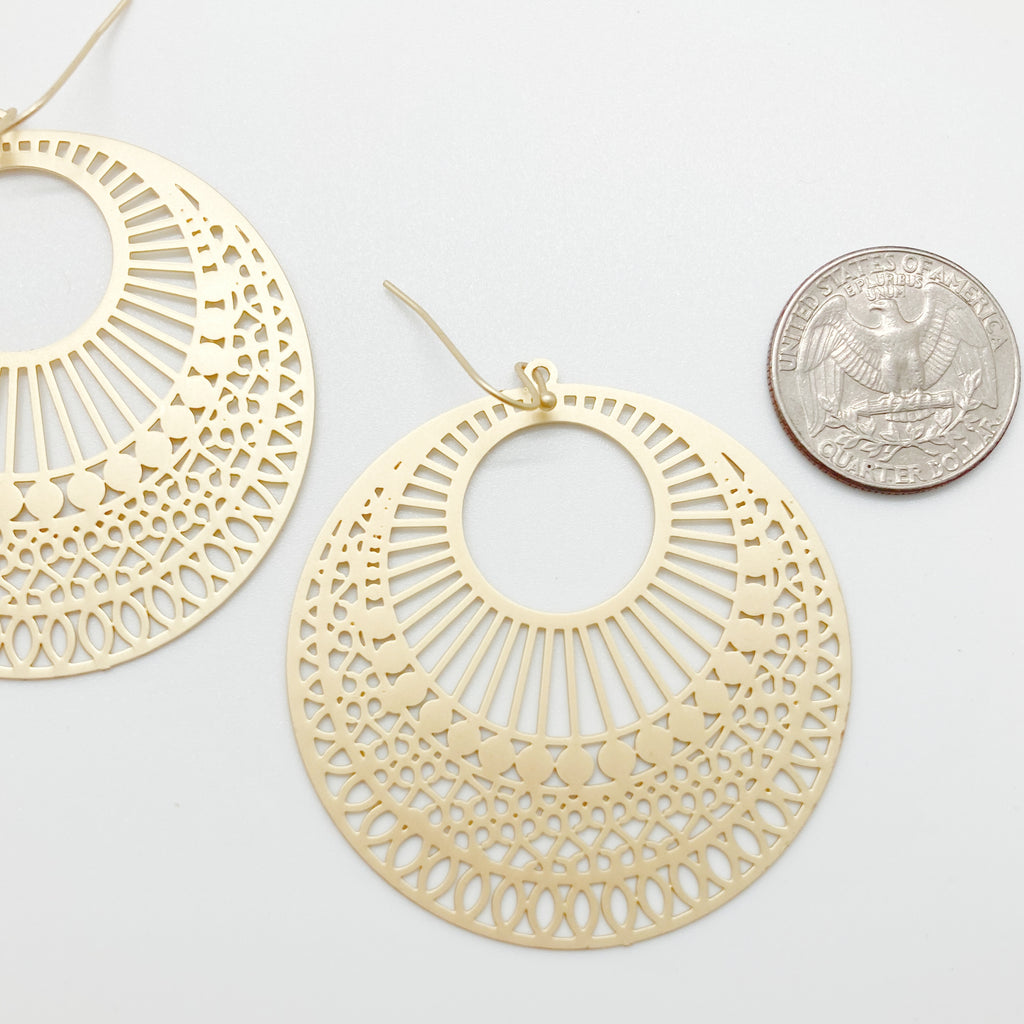 Filigree Circle Earrings-Gold