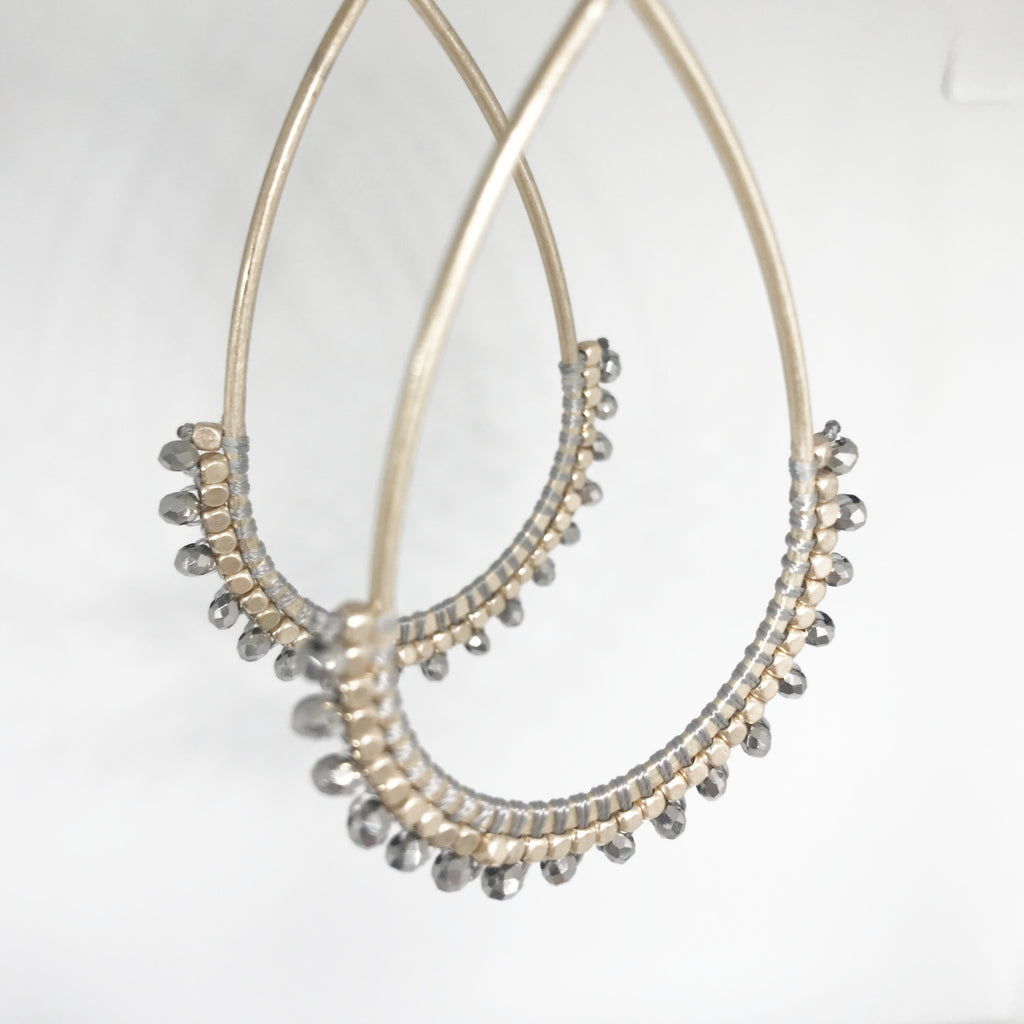Beaded Gold Tear Drops- Gray