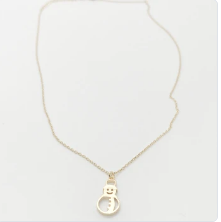 Sweet Snowman Necklace-Gold
