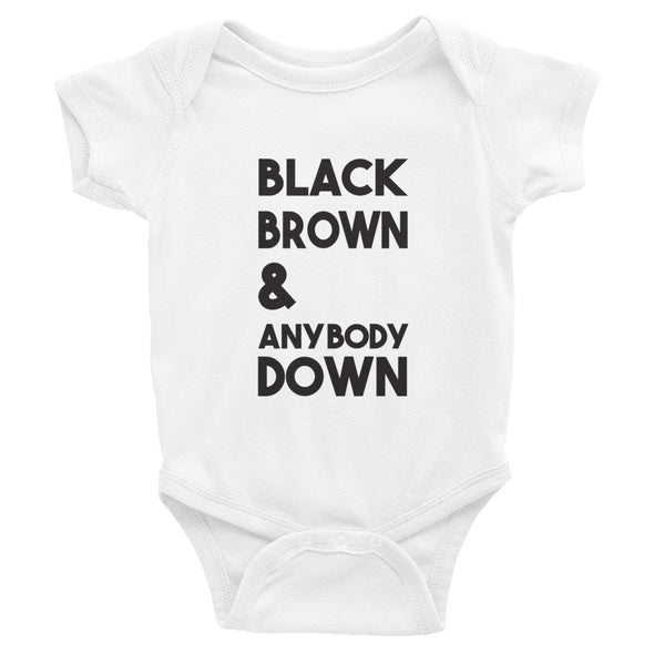 Black Brown & Anybody Down (transposed) - blackfuture - onesie