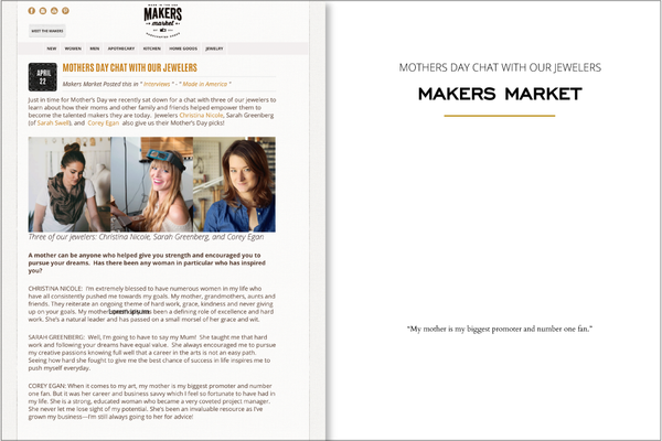 Makers Market Mothers Day Chat with our Jewelers 2014