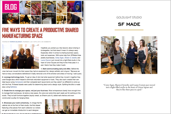 SF Made Creating a Productive Shared Manufacturing Space 2014