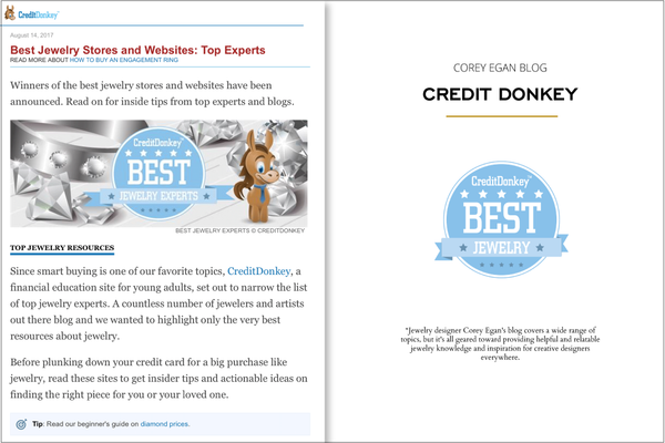 Corey Egan Blog on Credit Donkey Best Jewelry Blogs 2016