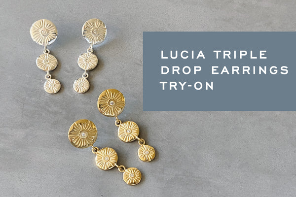 Lucia Triple Drop Earrings Try-On