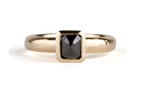 Radiant Black Diamond Bezel Set Ring