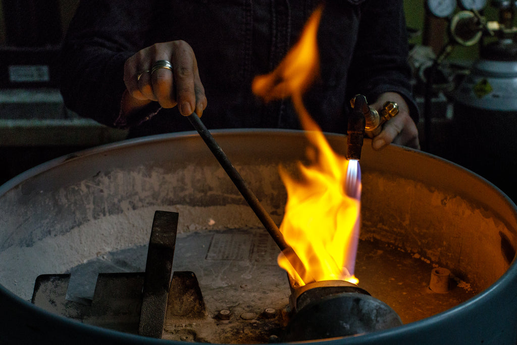 Using a Torch to Melt Down Gold - How a Ring is Made - Corey Egan