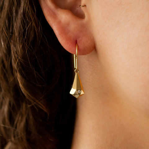 faceted crystal fragment vermeil earrings with diamonds