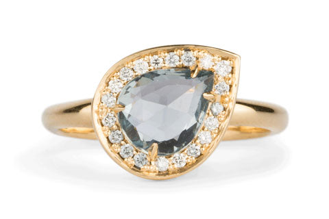 Offset Pear Blue Rose Cut Sapphire Halo Engagement Ring in Yellow Gold