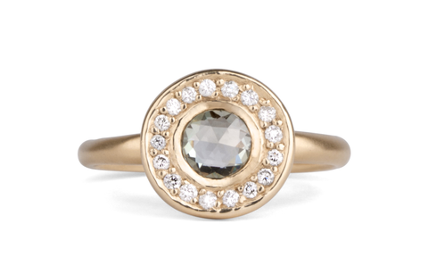 Halo Ring with Bezel Set Center Stone