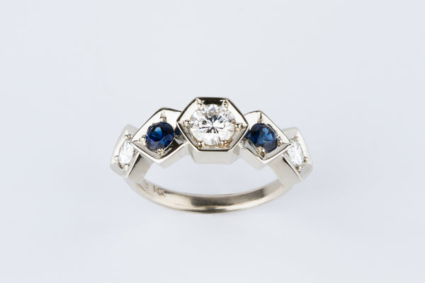 Custom White Gold, Moissanite, and Sapphire Ring by Corey Egan