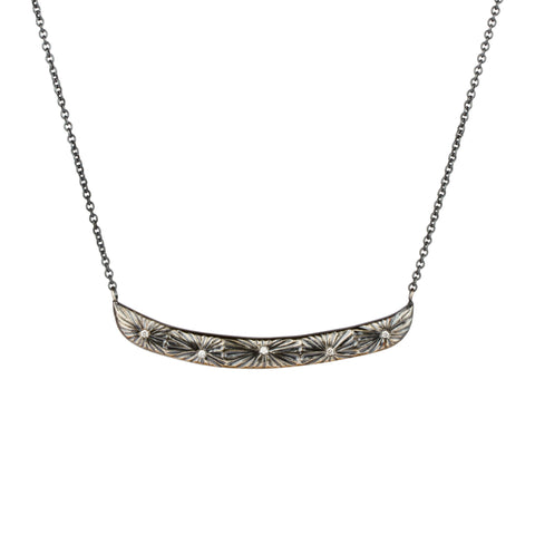 Oxidized Silver Luminous Bar Necklace