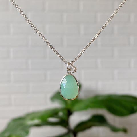 Silver Chrysoprase and Diamond Rise Cluster Necklace