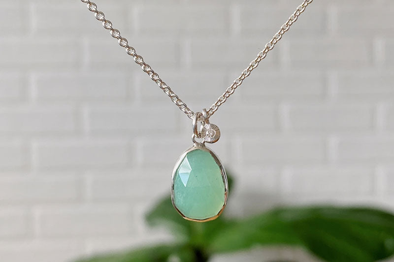 Chrysoprase silver and diamond rise cluster necklace