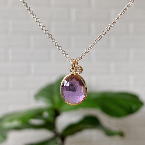Rose cut Amethyst Gold and Silver Cluster Necklace
