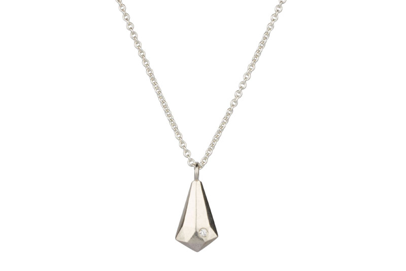 Silver crystal fragment necklace with diamond