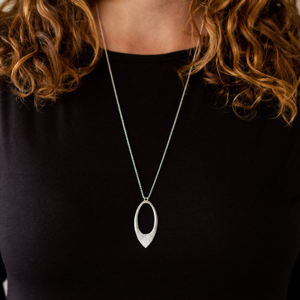 Sterling Silver Long Necklace with Oblong Helios Pendant