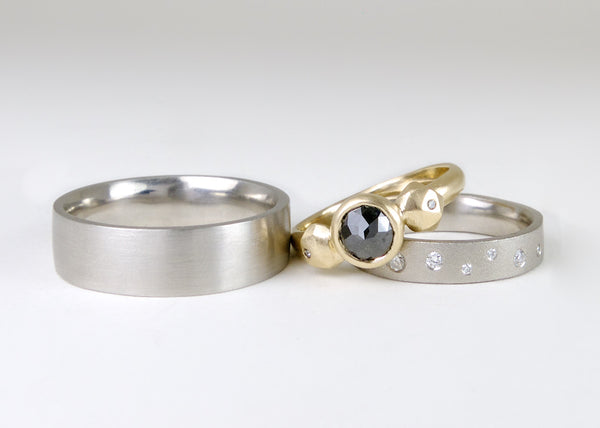 Custom Palladium and Gold Wedding Rings by Corey Egan
