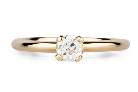 Round Prong Setting Solitaire with Antique Diamond in Yellow Gold