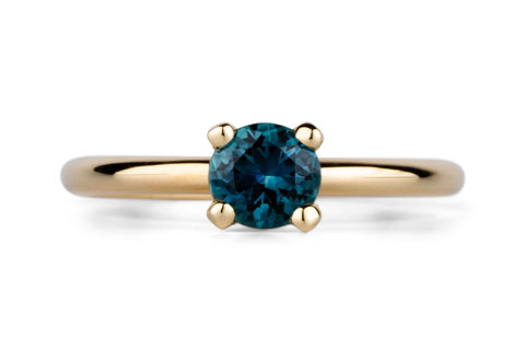 Round Prong Setting Solitaire with Teal Montana Sapphire in Yellow Gold