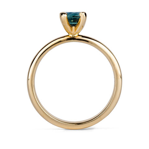 Round Prong Setting Solitaire with Teal Moissanite in Yellow Gold