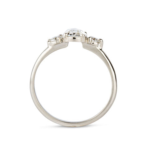 Three stone prong setting ring with rose cut diamond in white gold