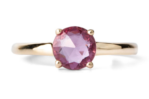 Round Prong Setting Solitaire with rose cut pink sapphire  in Yellow Gold