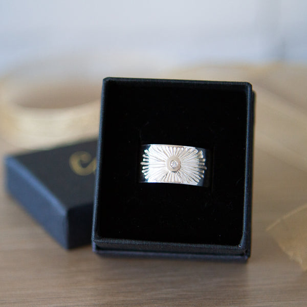 Sterling silver beacon band in a gift box