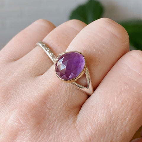 Rose cut amethyst gold bezel ring with silver split band