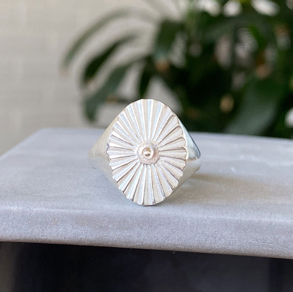Oval Silver Sunburst Signet Ring with a silver bead center