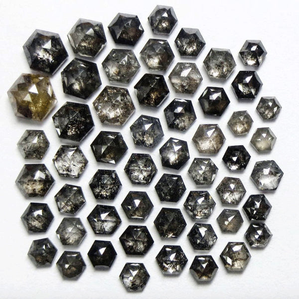 Salt and pepper rose cut hexagon rustic diamonds