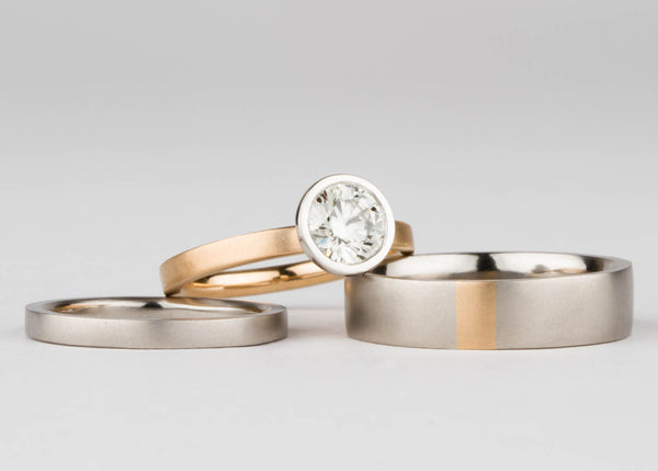 Custom Palladium and Yellow Gold Wedding Set by Corey Egan