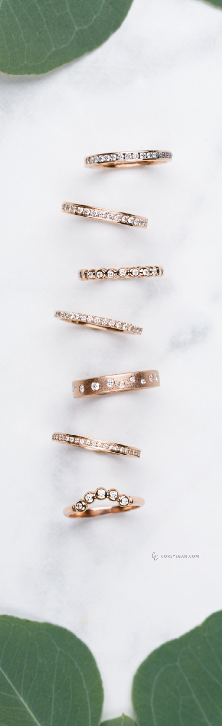 Rose Gold and Diamond Wedding Bands by Corey Egan