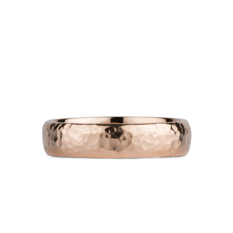 Half Round Hammered Rose Gold band by Corey Egan