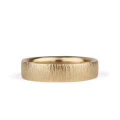 Zion Flat Hammered Wedding Band in Yellow Gold by Corey Egan