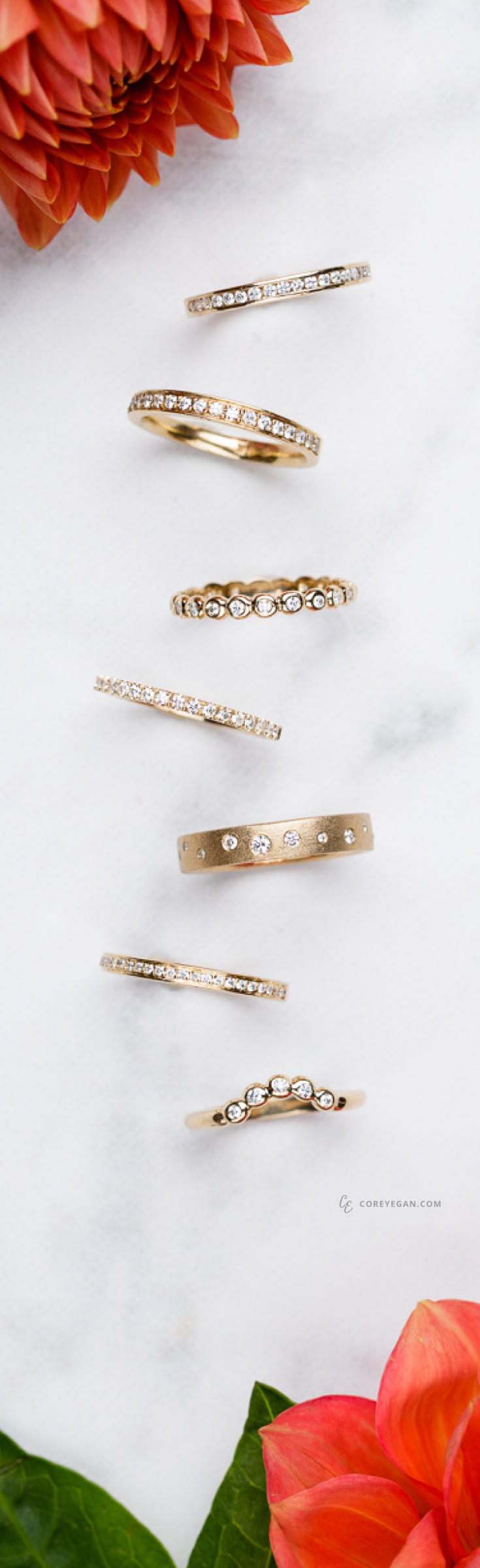 Yellow Gold Diamond Wedding Bands by Corey Egan