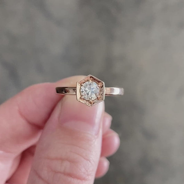 Issa Ring with TTLB Old European Cut Diamond
