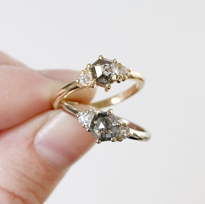 Salt and Pepper Hexagon Rose Cut Diamond Lenox Ring in 14k Yellow Gold and White Goldby Corey Egan