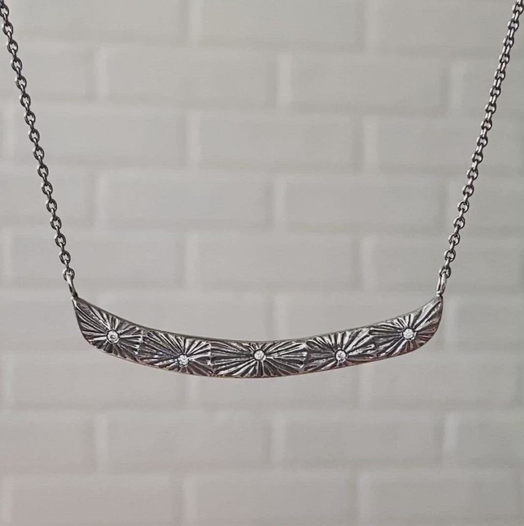 Oxidized Silver Luminous Bar Necklace by Corey Egan