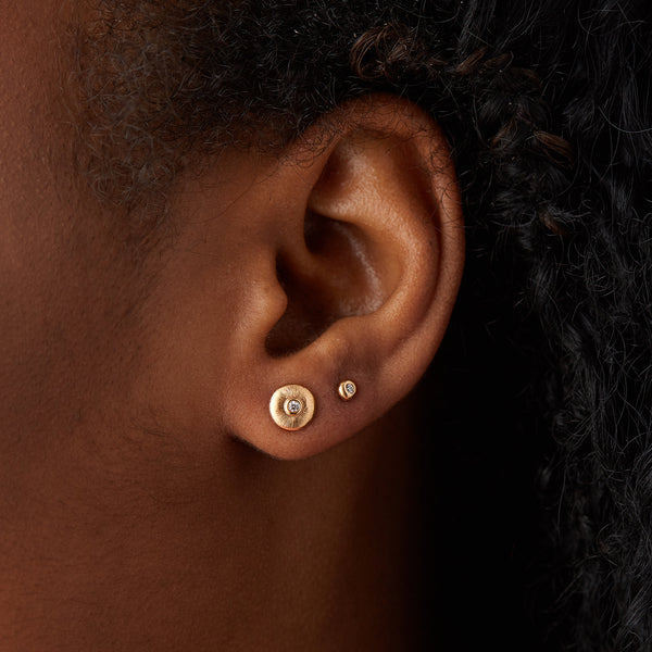 Yellow Gold Diamond Droplet Studs by Corey Egan