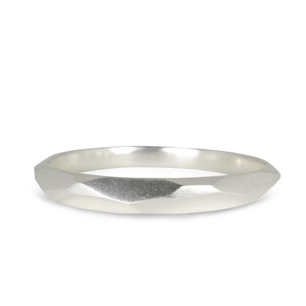 Silver Faceted Denali Bangle by Corey Egan