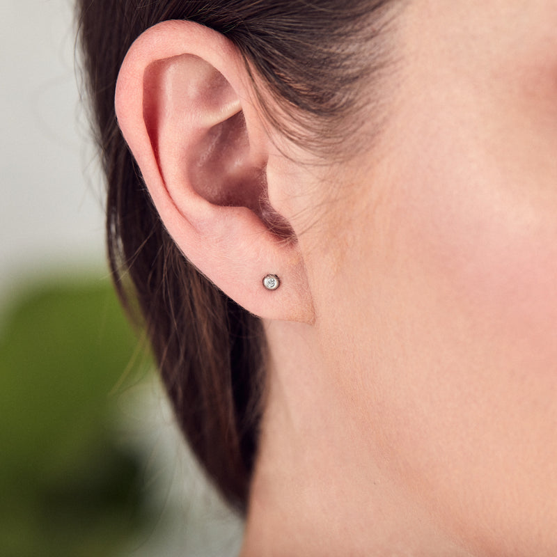 Silver and Diamond Droplet Studs by Corey Egan