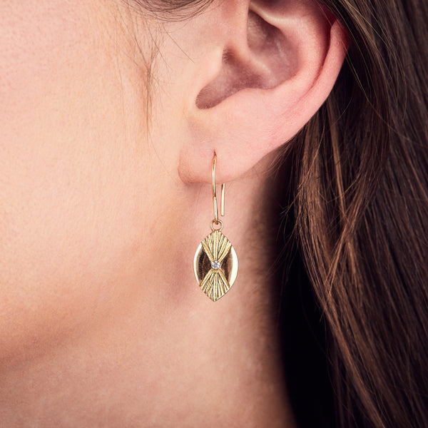 Lumens Eye Gold and Diamond Dangle Earrings by Corey Egan