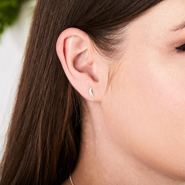 Silver Wisp Stud Earrings by Corey Egan