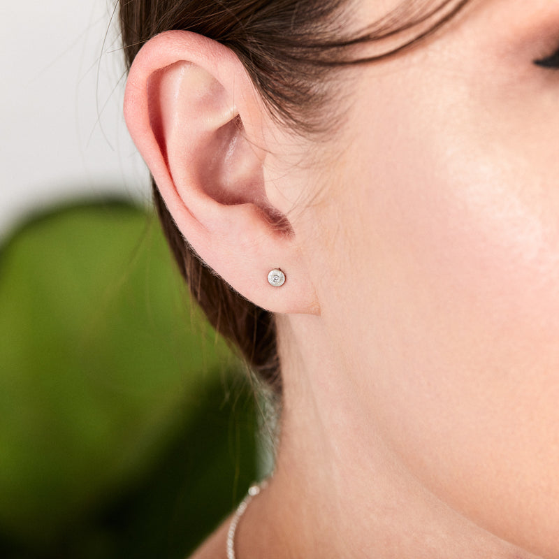Silver and Diamond Rise Studs by Corey Egan