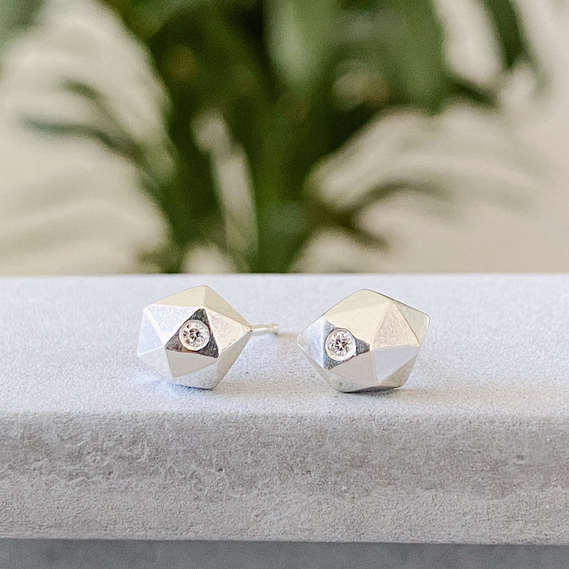 Silver and Diamond faceted stud earrings