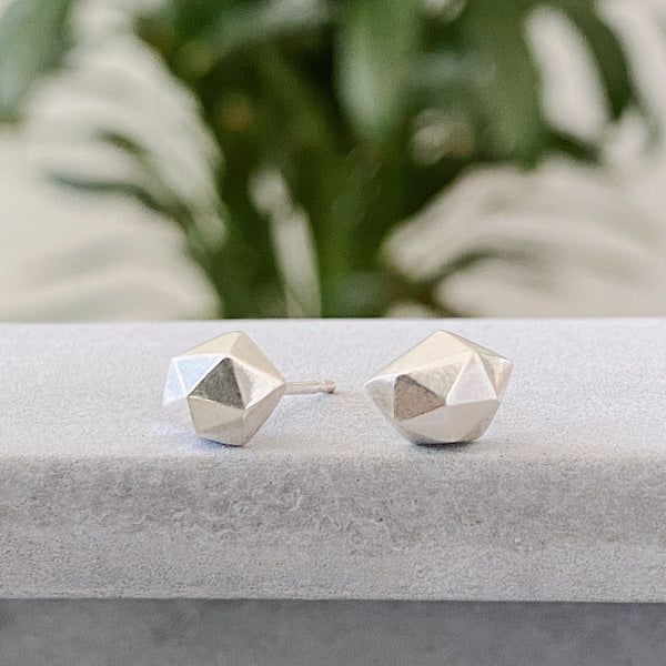 Silver Faceted stud earrings