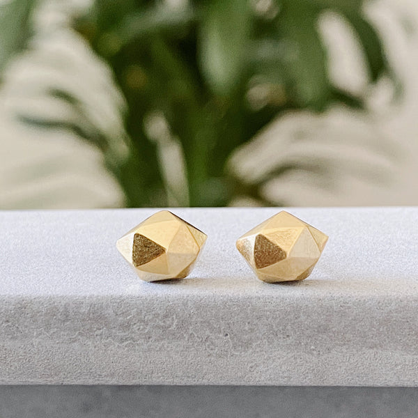 Vermeil faceted stud earrings